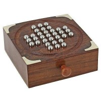 Wooden Solitaire Board Game with Metal Balls Beads Travel Games