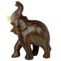 Wooden Elephant Statue Trunk Up