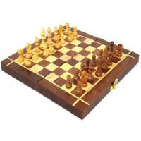 Folding Wooden Chess Board Set Game